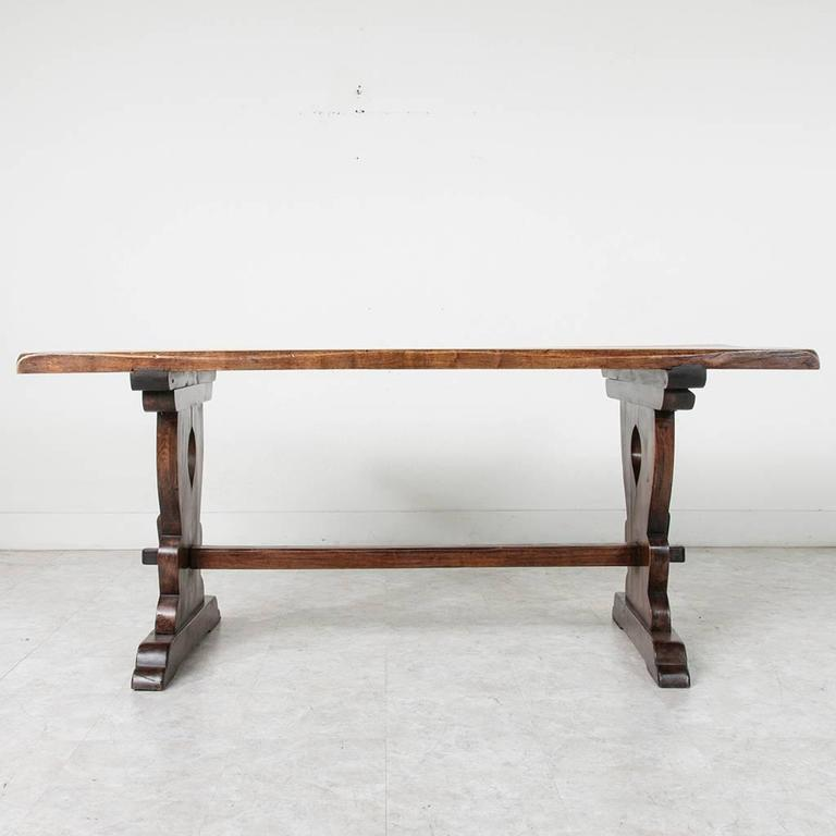Small Scale French Monastery Dining Table Of Solid Beechwood With Trestle  Base 2