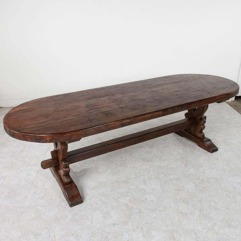 Grand Antique French Handmade Solid Oak Oval Monastery Farm Dining Table For