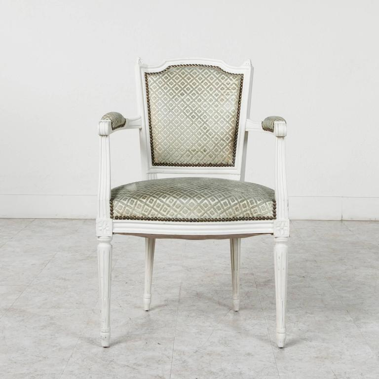 French Set Of Louis XVI Style Dining Chairs Painted White With Nailhead  Upholstery For Sale
