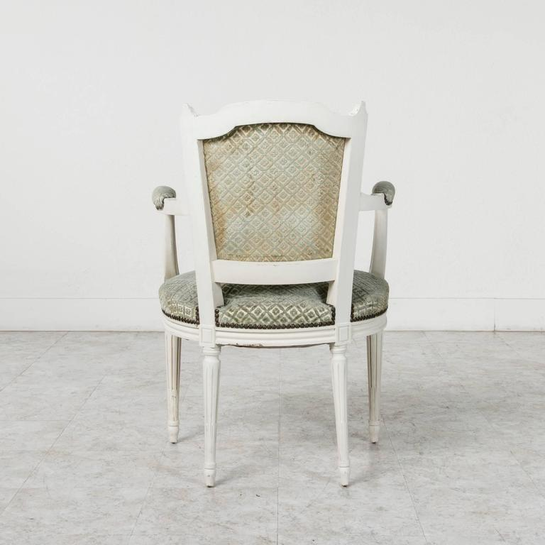 20th Century Set of Louis XVI Style Dining Chairs Painted White with Nailhead Upholstery For Sale