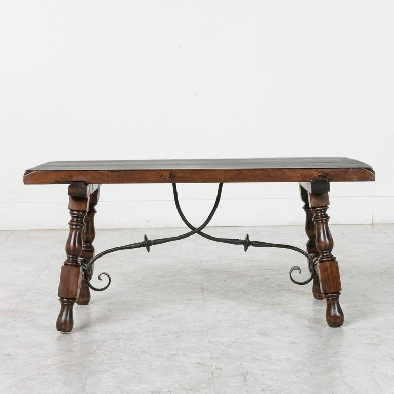 Spanish Renaissance Style Coffee Table Or Bench With Hand Forged Iron  Stretcher 2
