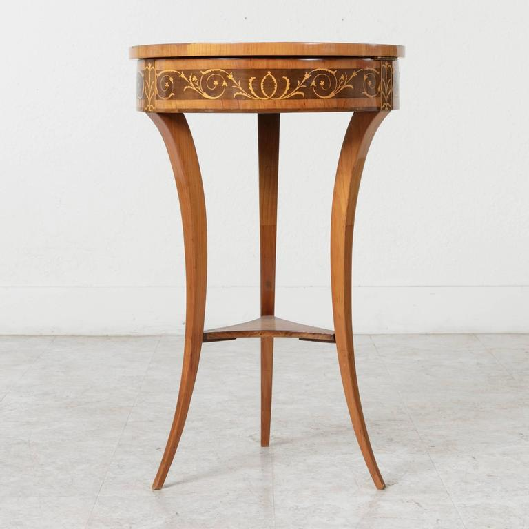 Mid-19th Century 19th Century Biedermeier Marquetry Vanity Table Jewelry Table Side Table For Sale