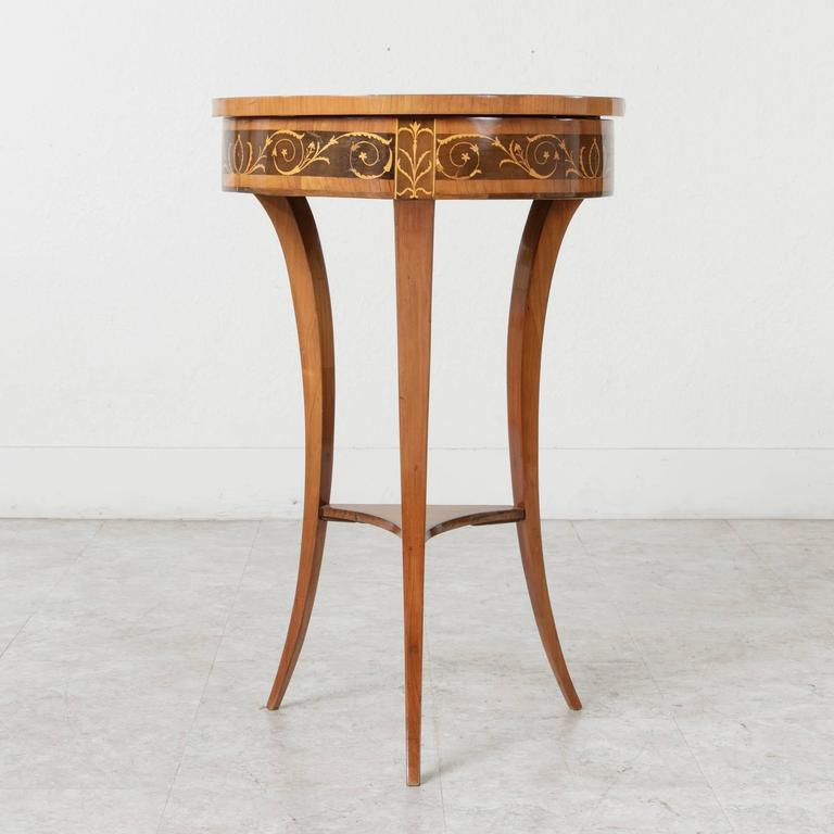 Mirror 19th Century Biedermeier Marquetry Vanity Table Jewelry Table Side Table For Sale