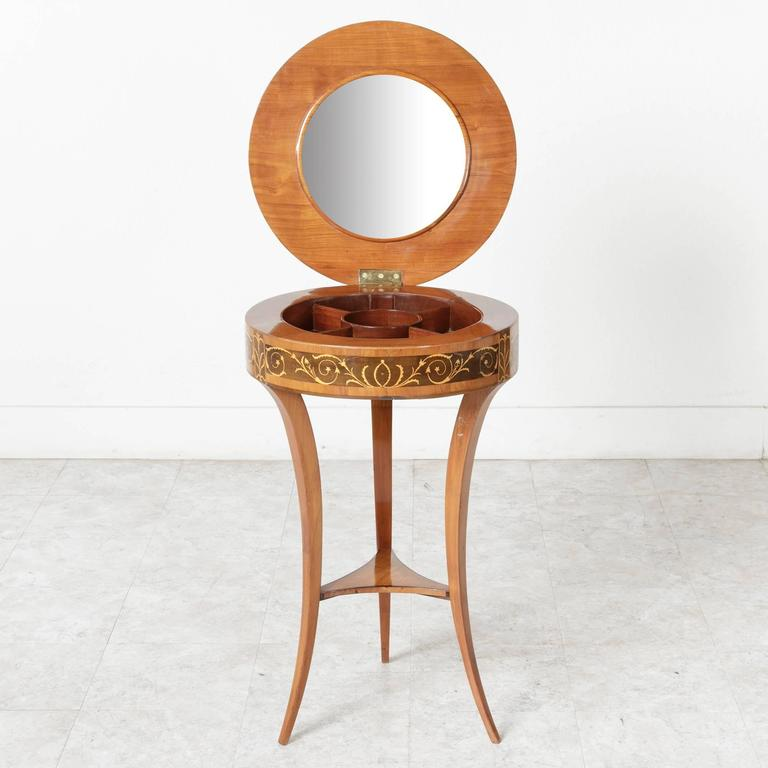 Inlay 19th Century Biedermeier Marquetry Vanity Table Jewelry Table Side Table For Sale