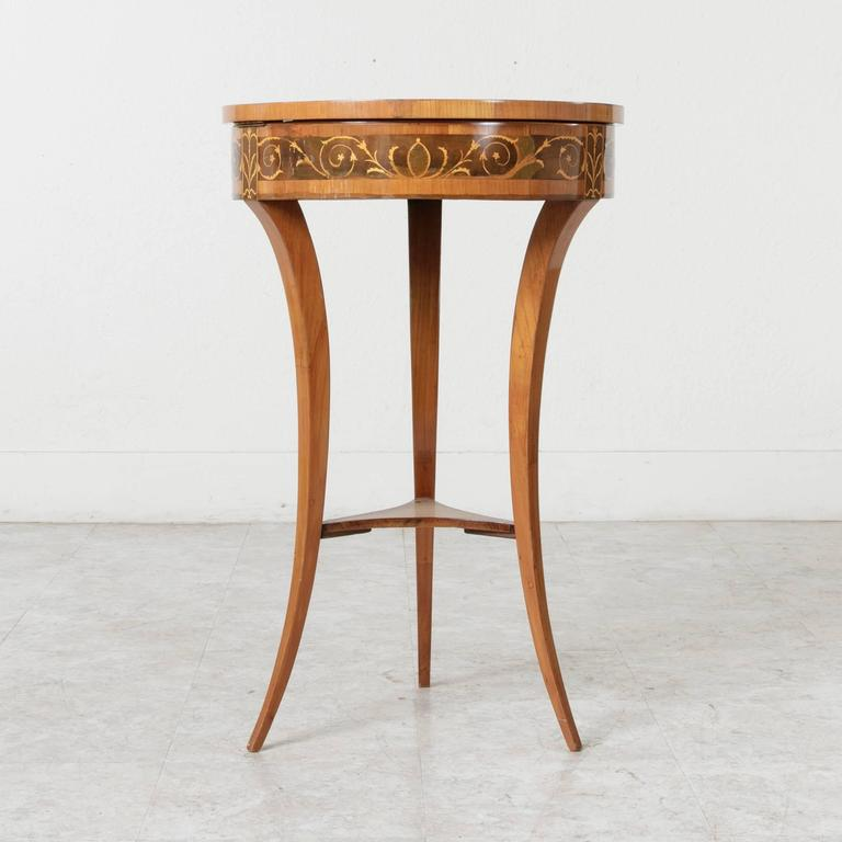 19th Century Biedermeier Marquetry Vanity Table Jewelry Table Side Table For Sale 1