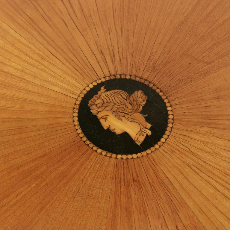 Austrian 19th Century Biedermeier Marquetry Vanity Table Jewelry Table Side Table For Sale
