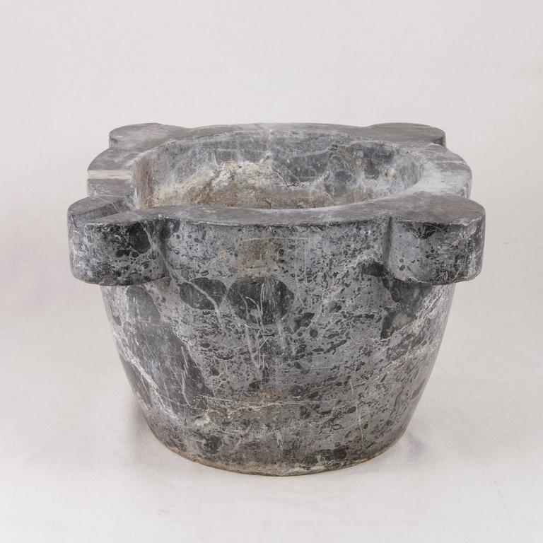 Very Large Antique French Marble Mortar Bowl Planter