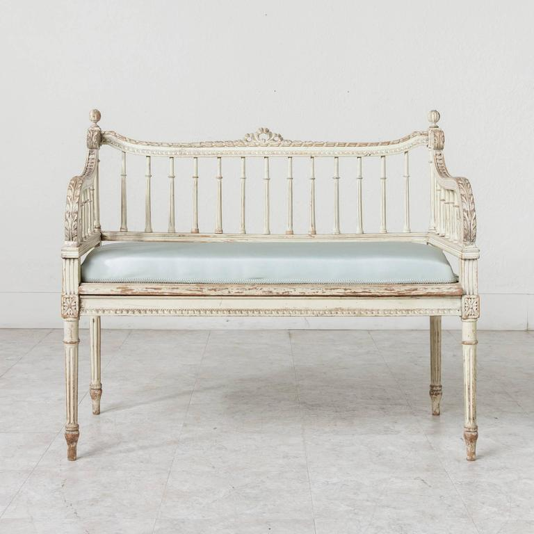 hand carved and painted louis xvi style vanity bench. Black Bedroom Furniture Sets. Home Design Ideas