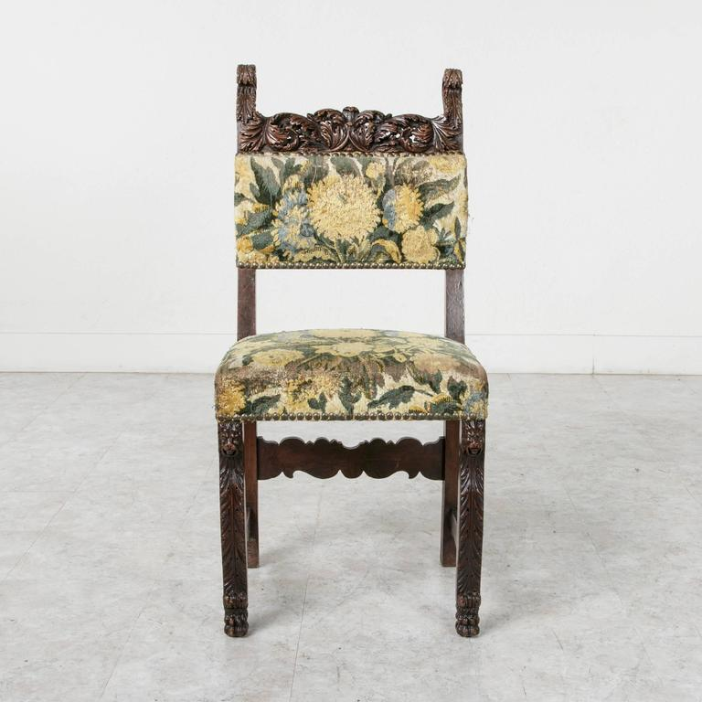19th Century Sculptural Hand-Carved Walnut Louis XIII Style Side Chair For Sale 1
