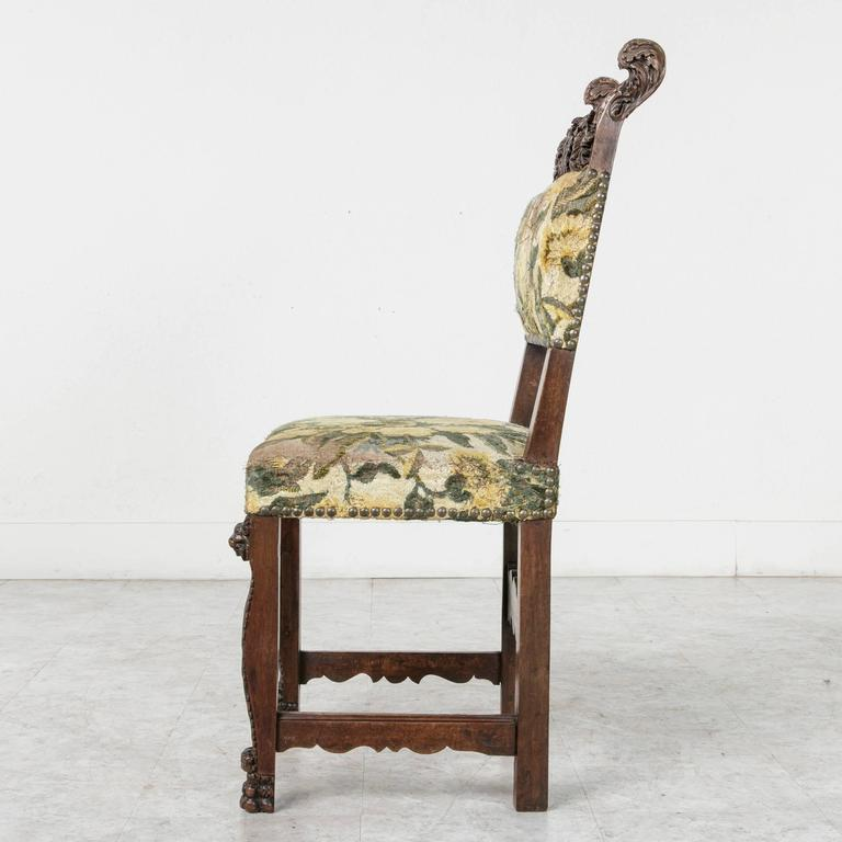 19th Century Sculptural Hand-Carved Walnut Louis XIII Style Side Chair For Sale 2