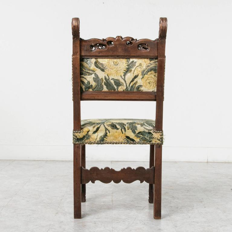 19th Century Sculptural Hand-Carved Walnut Louis XIII Style Side Chair For Sale 3
