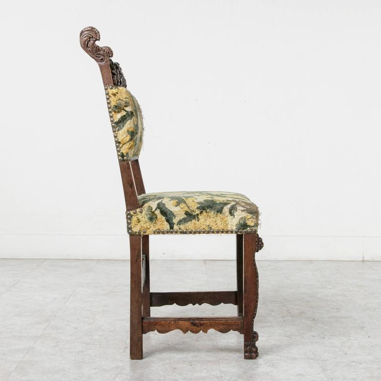 19th Century Sculptural Hand-Carved Walnut Louis XIII Style Side Chair For Sale 4