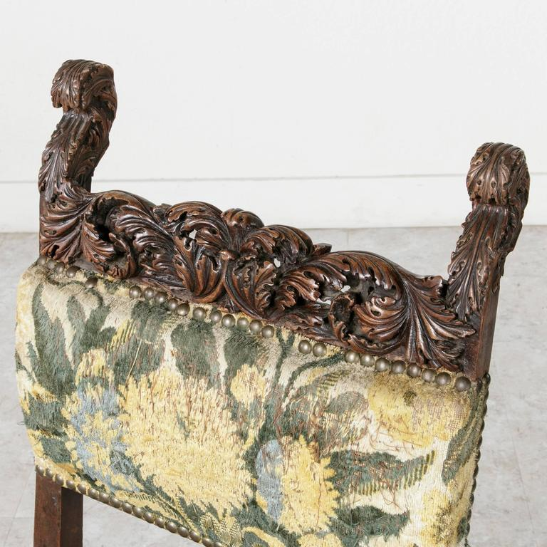 French 19th Century Sculptural Hand-Carved Walnut Louis XIII Style Side Chair For Sale