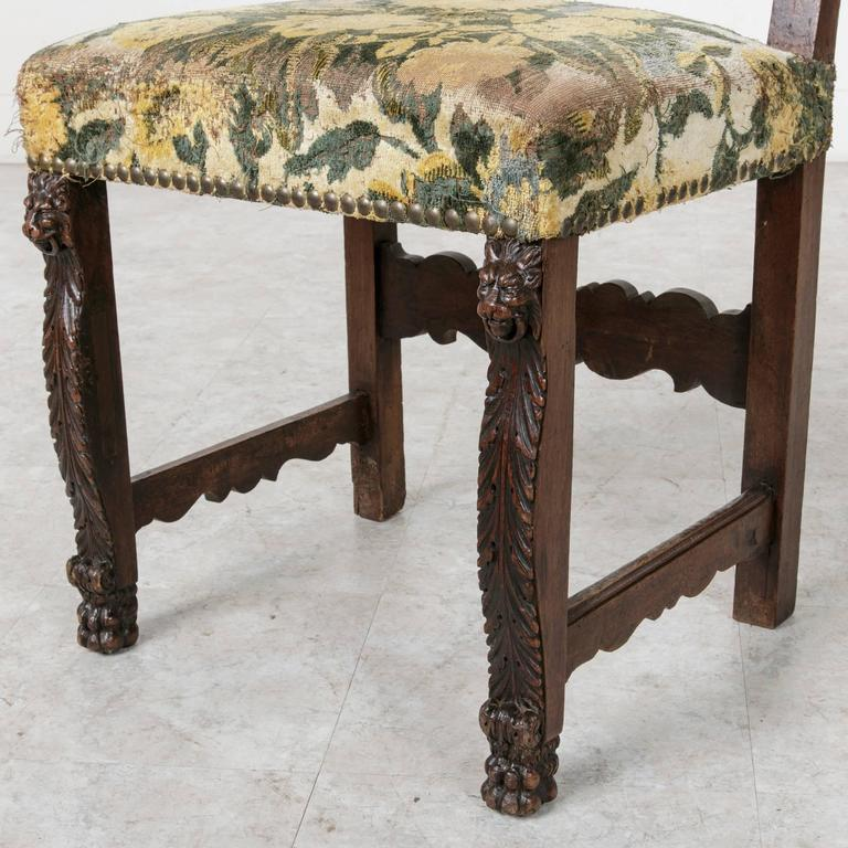 19th Century Sculptural Hand-Carved Walnut Louis XIII Style Side Chair In Excellent Condition For Sale In Fayetteville, AR