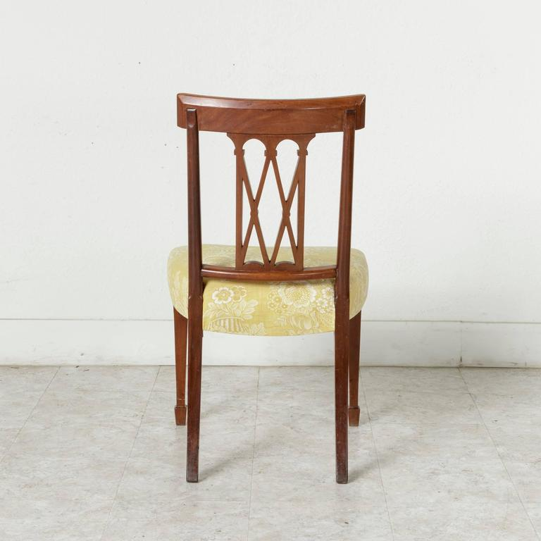 Set of Four 19th Century Italian Marquetry Walnut Side Chairs Dining Chairs For Sale 4