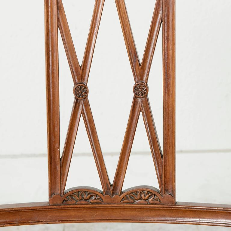 Set of Four 19th Century Italian Marquetry Walnut Side Chairs Dining Chairs In Good Condition For Sale In Fayetteville, AR