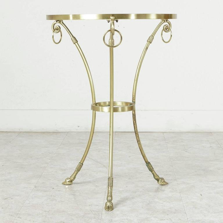 Mid-20th Century Maison Charles Bronze Gueridon or Side Table with Glass Top For Sale 1