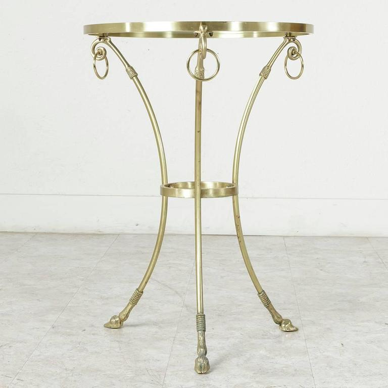 Mid-20th Century Maison Charles Bronze Gueridon or Side Table with Glass Top For Sale 3