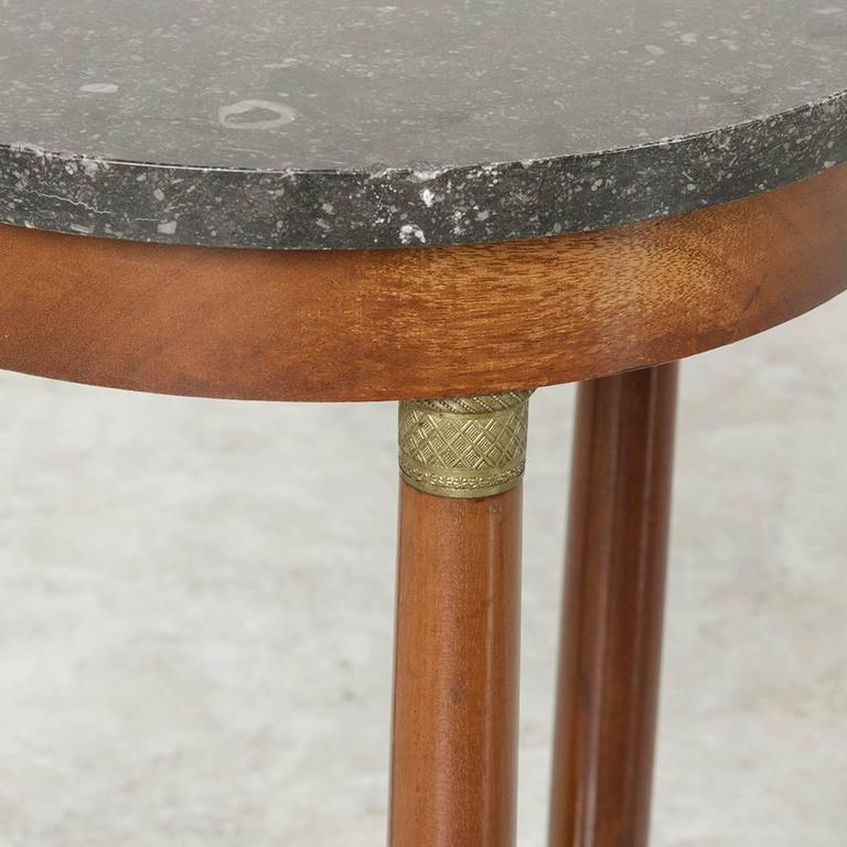 French Early 20th Century Empire Style Mahogany Side Table, Marble Top,  Bronze Details For