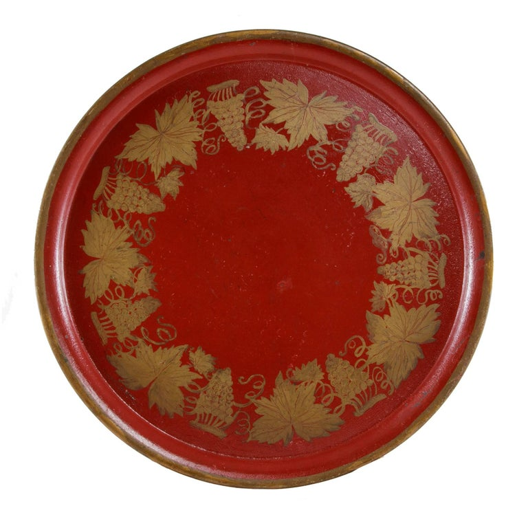 Late 19th Century Napoleon III Period Red Tole Tray with Hand Painted Grapes