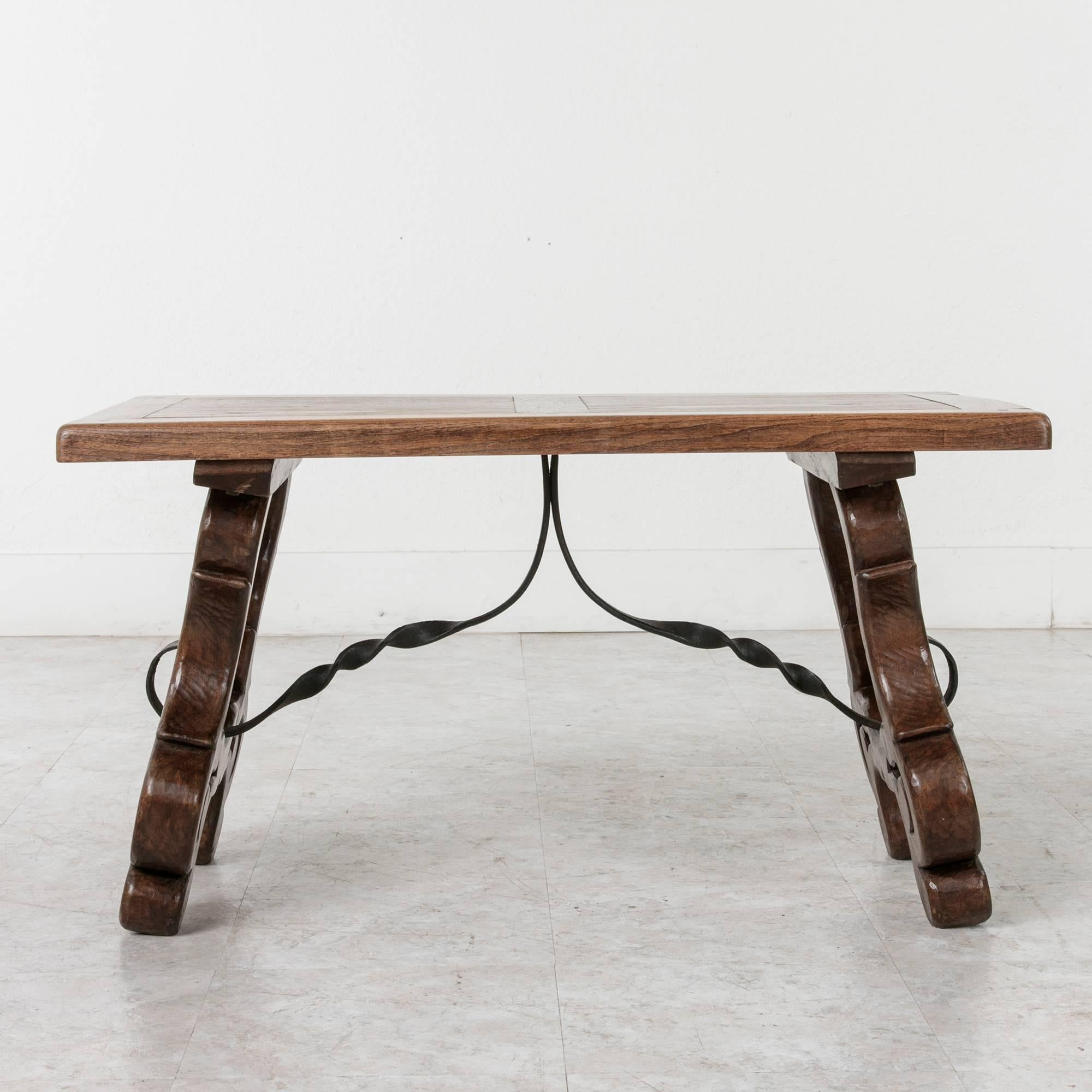 Wrought Iron Early 20th Century Spanish Style Oak Coffee Table Or Bench  With Iron Stretcher For