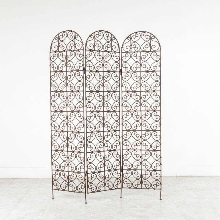 20th Century Hand-Forged Moroccan Iron Folding Screen, Room Divider, Garden Screen For Sale