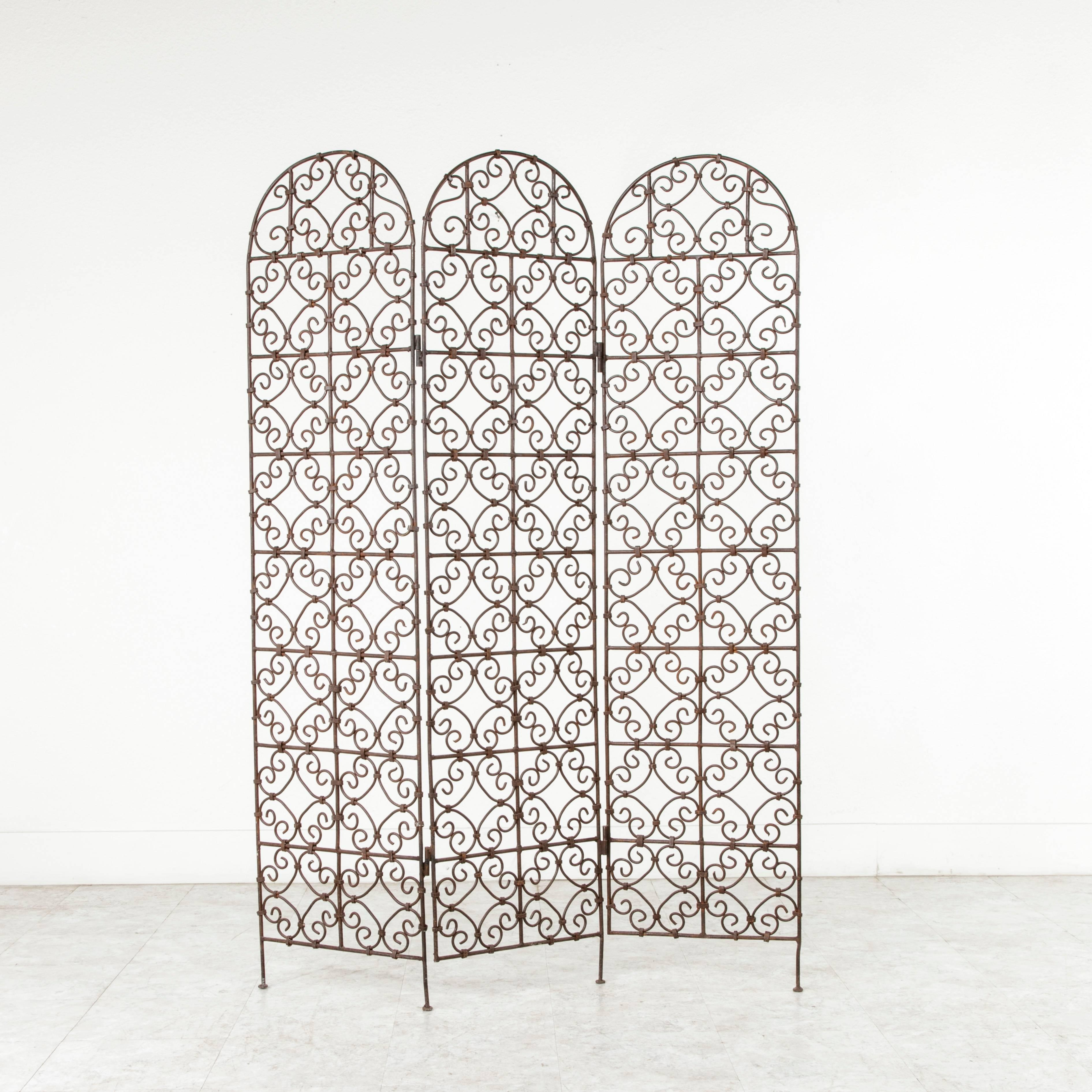 20th Century Hand Forged Moroccan Iron Folding Screen, Room Divider, Garden  Screen For
