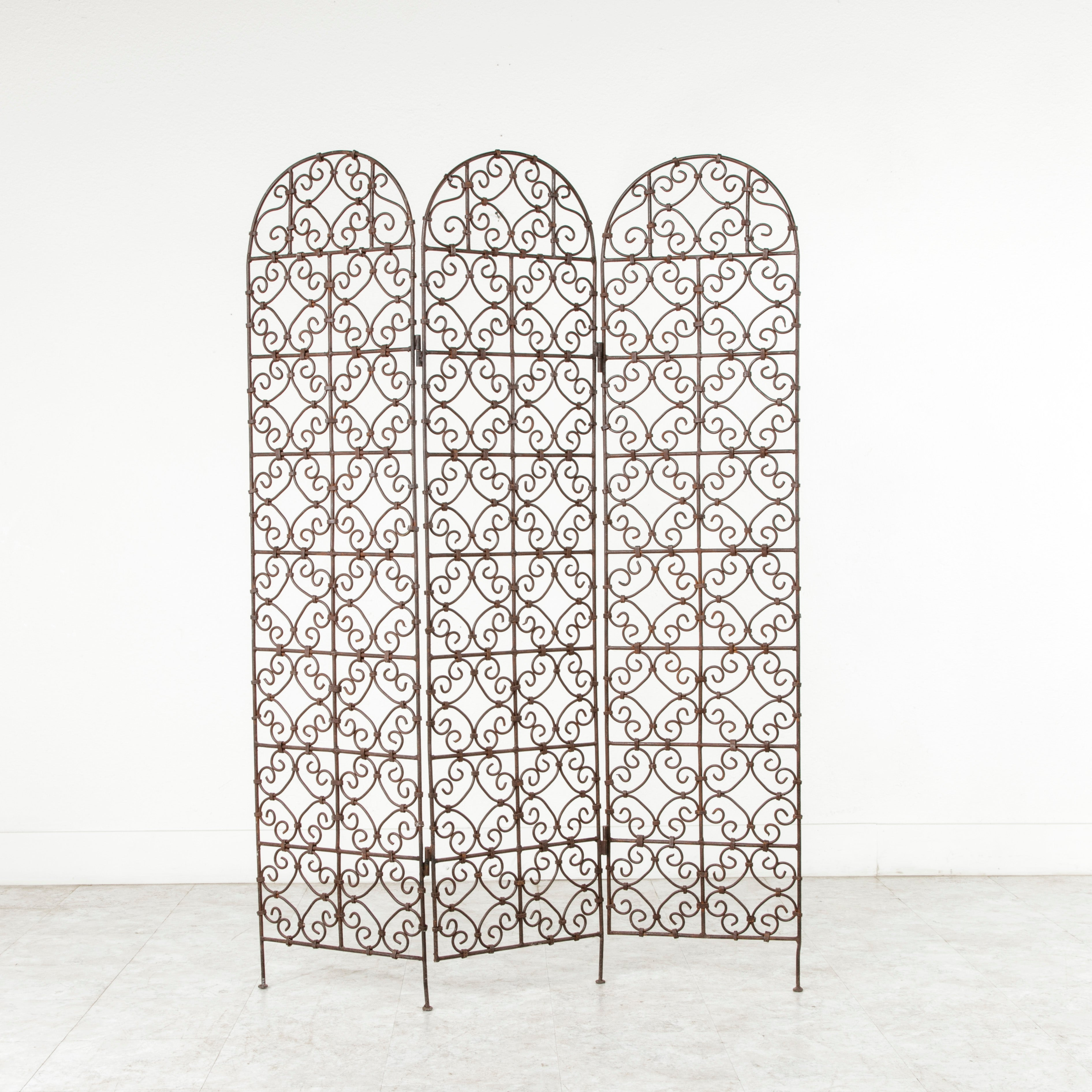 Hand Forged Moroccan Iron Folding Screen Room Divider Garden