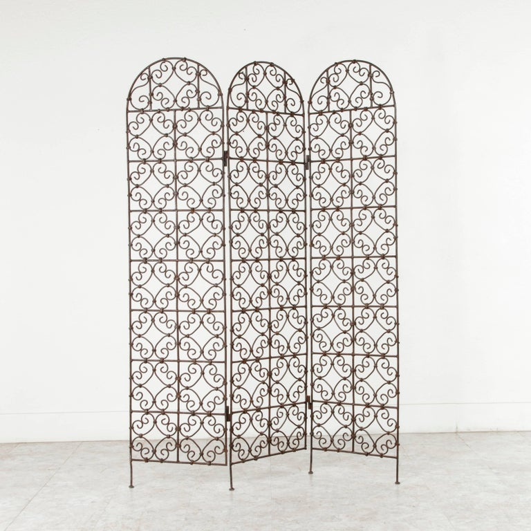 Wrought Iron Hand-Forged Moroccan Iron Folding Screen, Room Divider, Garden Screen For Sale