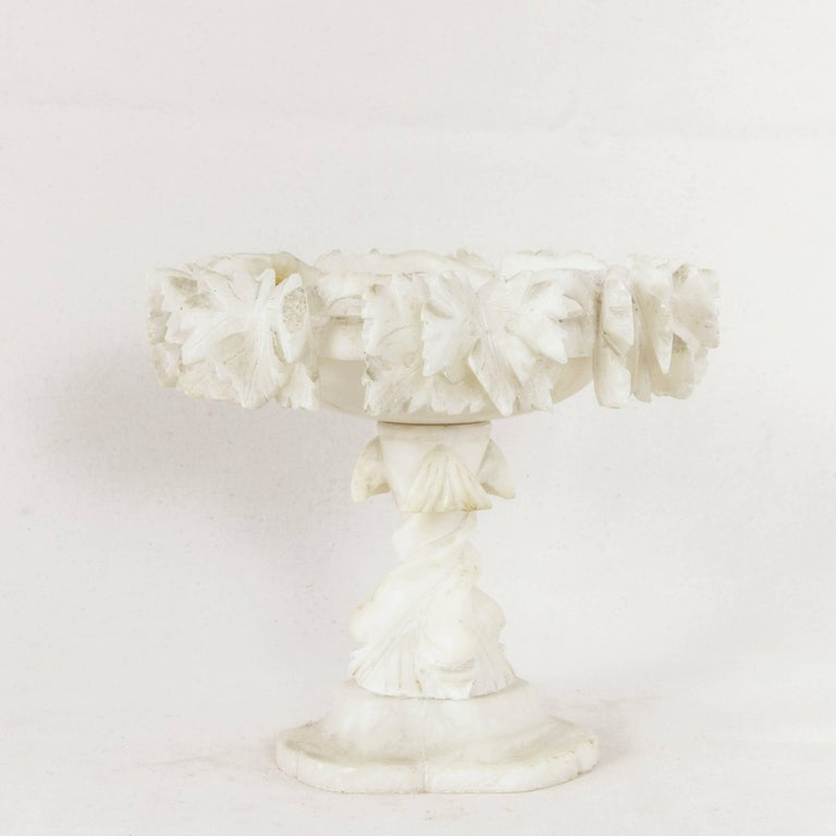 Late 19th Century French Hand-Carved Alabaster Compote or Pedestal Bowl For Sale 2
