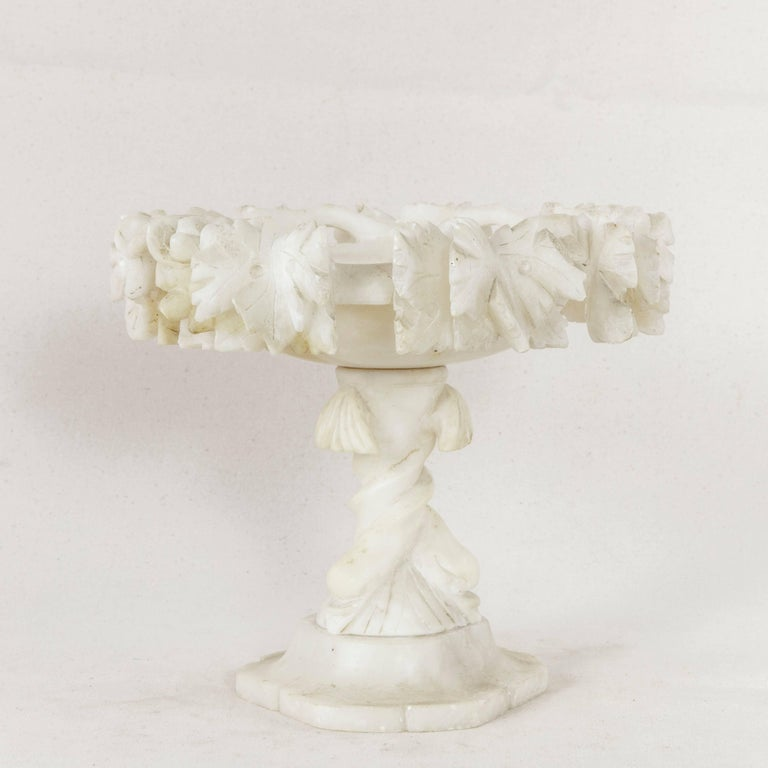 Late 19th Century French Hand-Carved Alabaster Compote or Pedestal Bowl In Good Condition For Sale In Fayetteville, AR