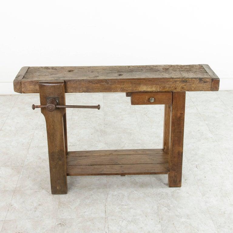 Early 20th century french oak workbench sofa table with single early 20th century french oak workbench sofa table with single drawer and vice in excellent watchthetrailerfo