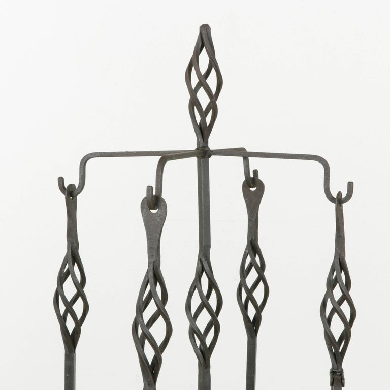 Set of Large Late 19th Century French Wrought Iron Fireplace Tools and Stand For Sale 4