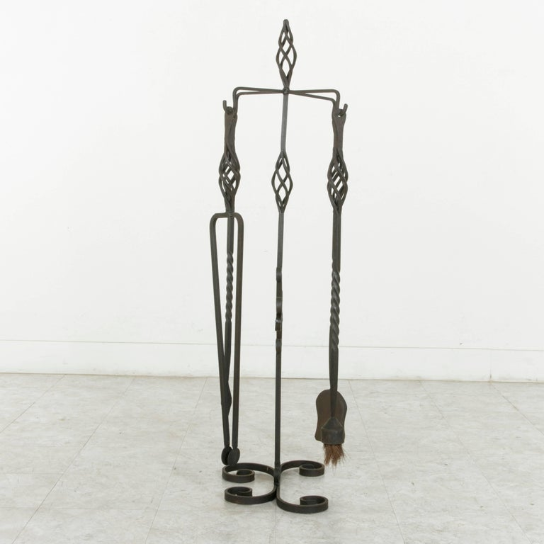 Set of Large Late 19th Century French Wrought Iron Fireplace Tools and Stand For Sale 1