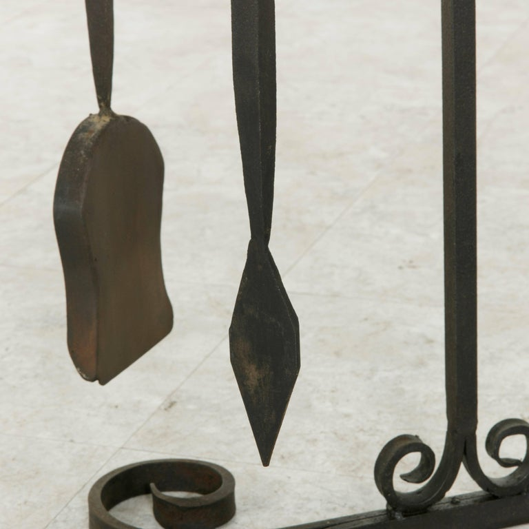Set of Large Late 19th Century French Wrought Iron Fireplace Tools and Stand For Sale 5