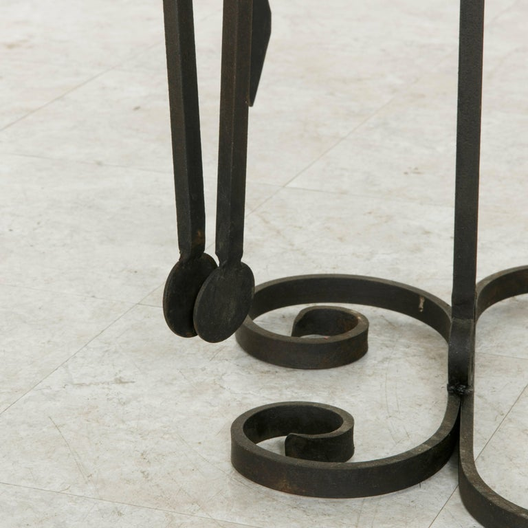 Set of Large Late 19th Century French Wrought Iron Fireplace Tools and Stand For Sale 6