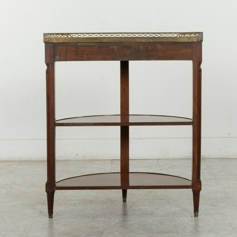 Bronze 19th Century French Louis XVI Style Mahogany Demilune Console Table, Marble Top For Sale