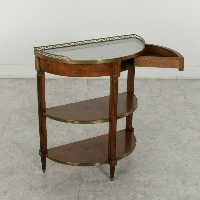 19th Century French Louis XVI Style Mahogany Demilune Console Table, Marble Top For Sale 2