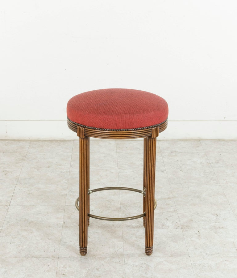 Four Midcentury Art Deco Walnut And Brass Bar Stools From