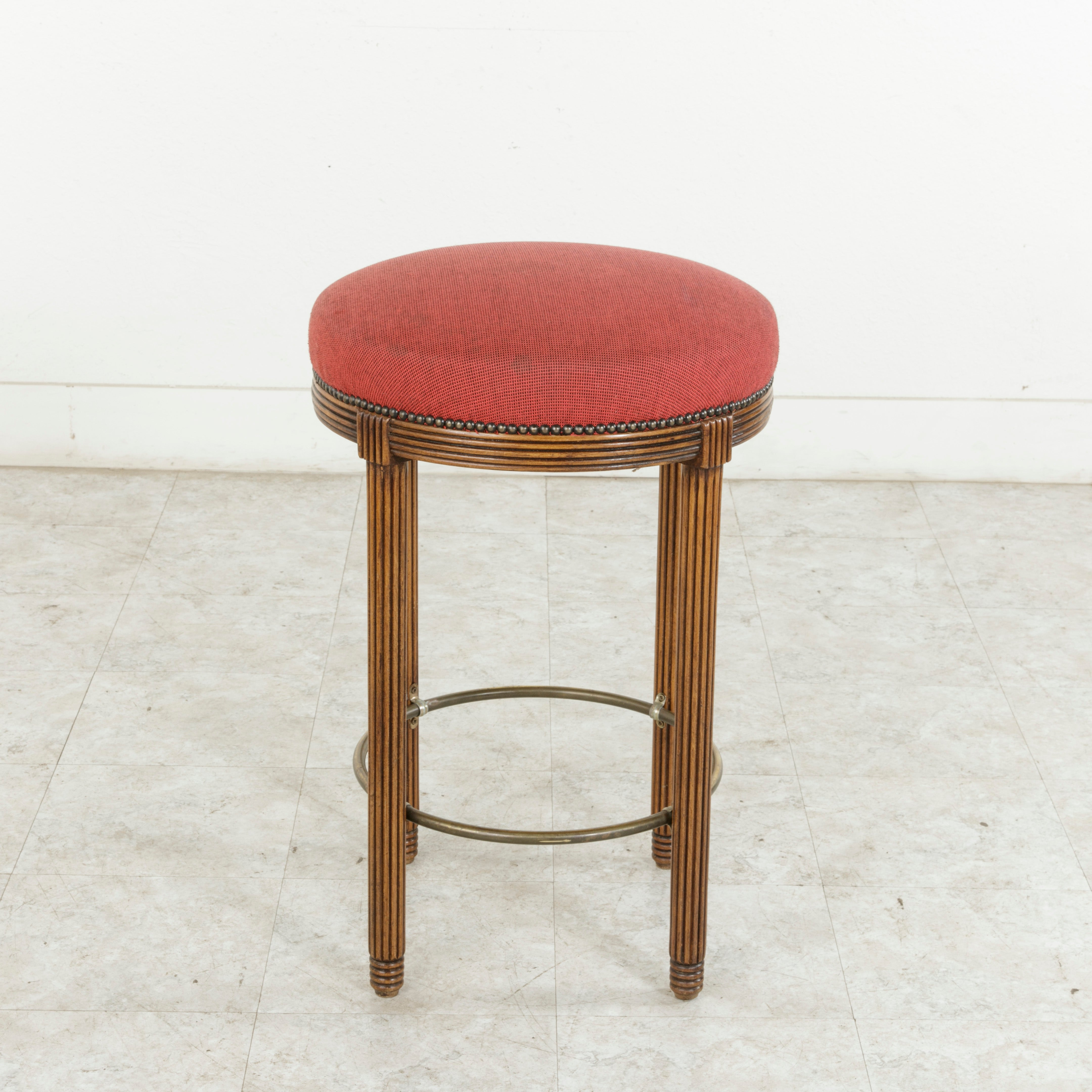 Two Pairs Midcentury Art Deco Walnut And Brass Bar Stools From Paris  Fouquetu0027s At 1stdibs