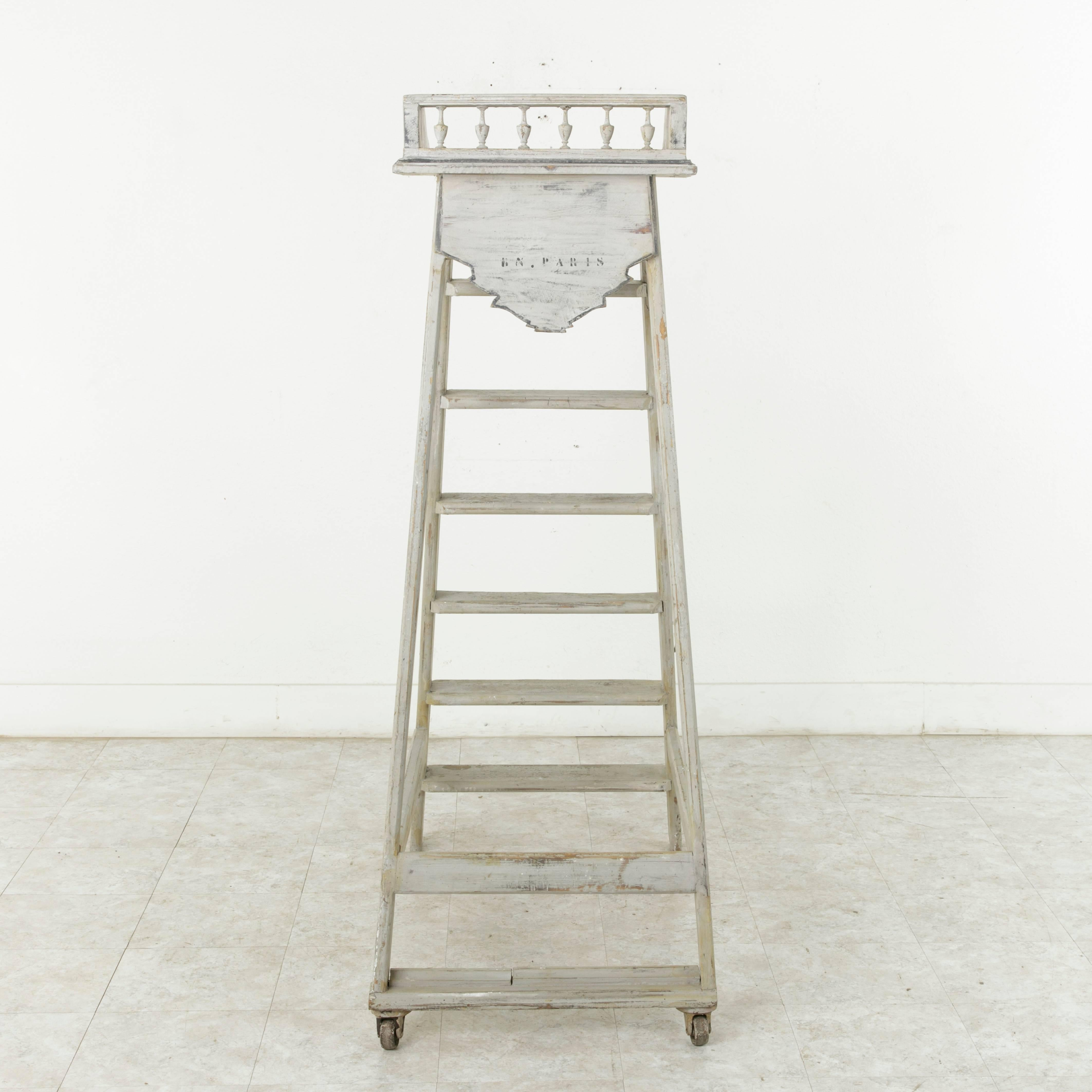 Early 20Th Century Painted Library Ladder From Biblioth Que Nationale