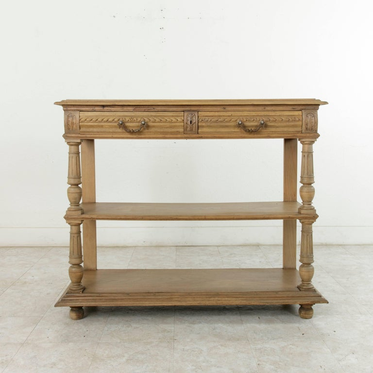 Late 19th Century French Henri II Hand-Carved Oak Buffet, Server ...