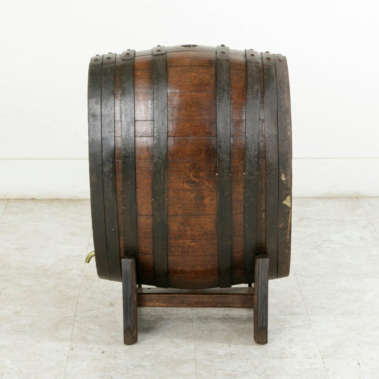 Hand-Carved Early 20th Century Artisan Made Oak Calvados Barrel Dry Bar on Stand For Sale