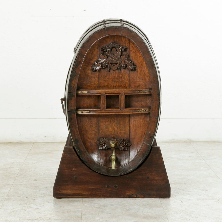 French Early 20th Century Artisan Made Oak Calvados Barrel Dry Bar on Stand For Sale
