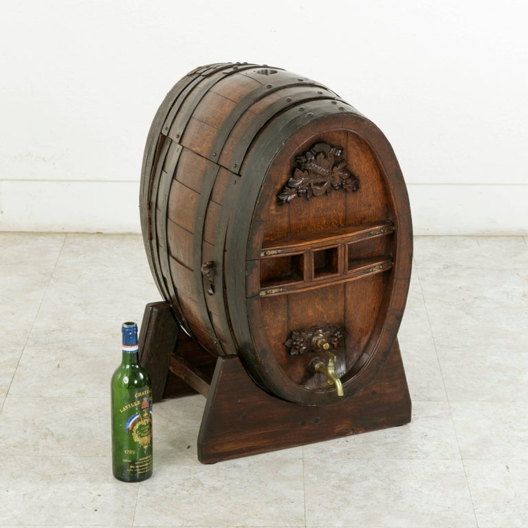 Early 20th Century Artisan Made Oak Calvados Barrel Dry Bar on Stand For Sale 6