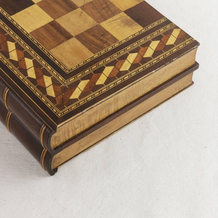 Hinged Marquetry Game Box for Chess, Checkers, Backgammon, Stacked Books Form For Sale 4