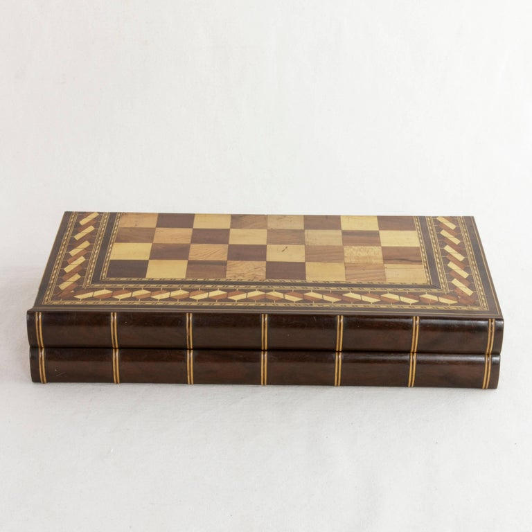 Inlay Hinged Marquetry Game Box for Chess, Checkers, Backgammon, Stacked Books Form For Sale