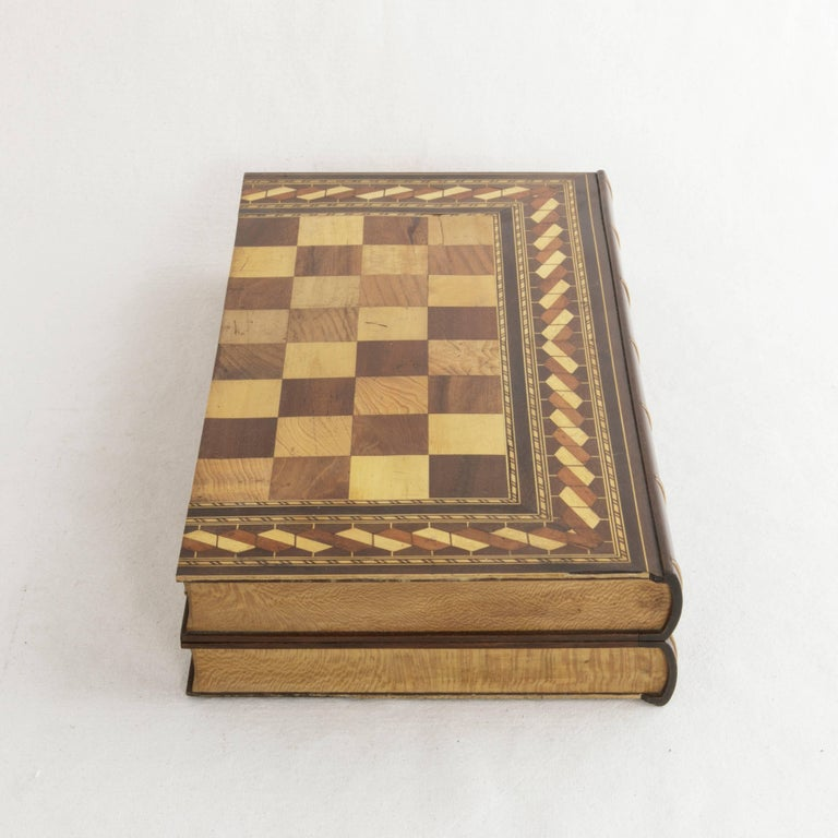 20th Century Hinged Marquetry Game Box for Chess, Checkers, Backgammon, Stacked Books Form For Sale