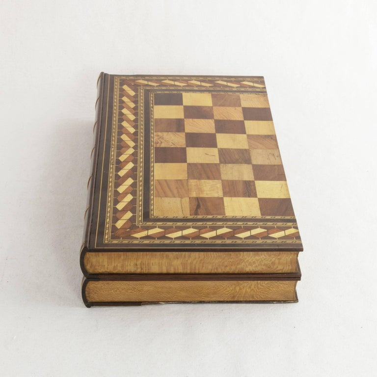 Fruitwood Hinged Marquetry Game Box for Chess, Checkers, Backgammon, Stacked Books Form For Sale