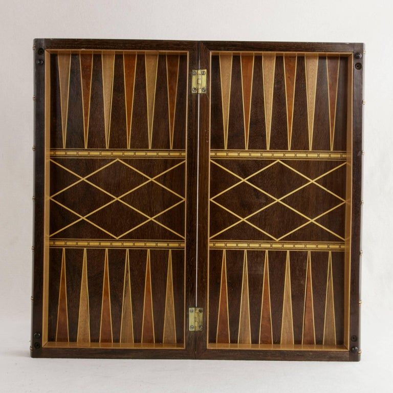 Hinged Marquetry Game Box for Chess, Checkers, Backgammon, Stacked Books Form For Sale 2